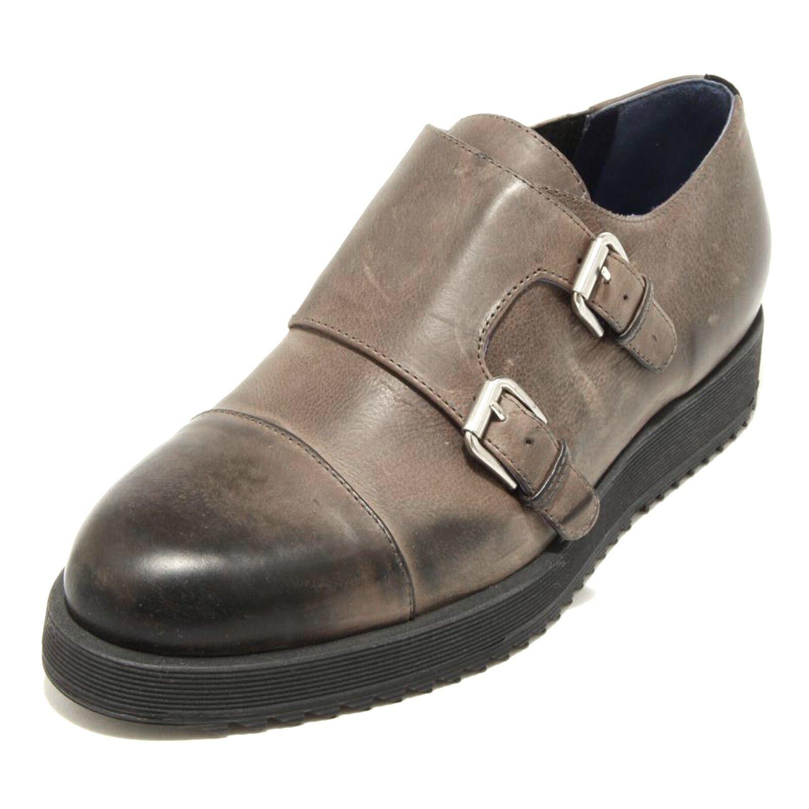 2065G scarpa antracite UNO 8 UNO 181 calzatura doppia fibbia uomo schuhe men