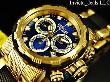 Invicta 46mm Specialty Capsule Swiss Chronograph 18K Gold Plated Blue Dial Watch