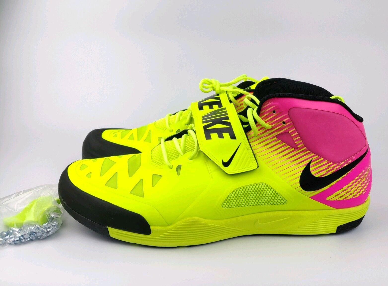 Nike Zoom Javelin Elite 2 Track Spikes shoes Volt Pink Rio mens sz 15 631055 999