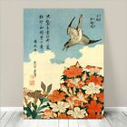 "Beautiful Japanese Bird Art ~ CANVAS PRINT 18x12"" Hokusai Cuckoo & Azaleas"