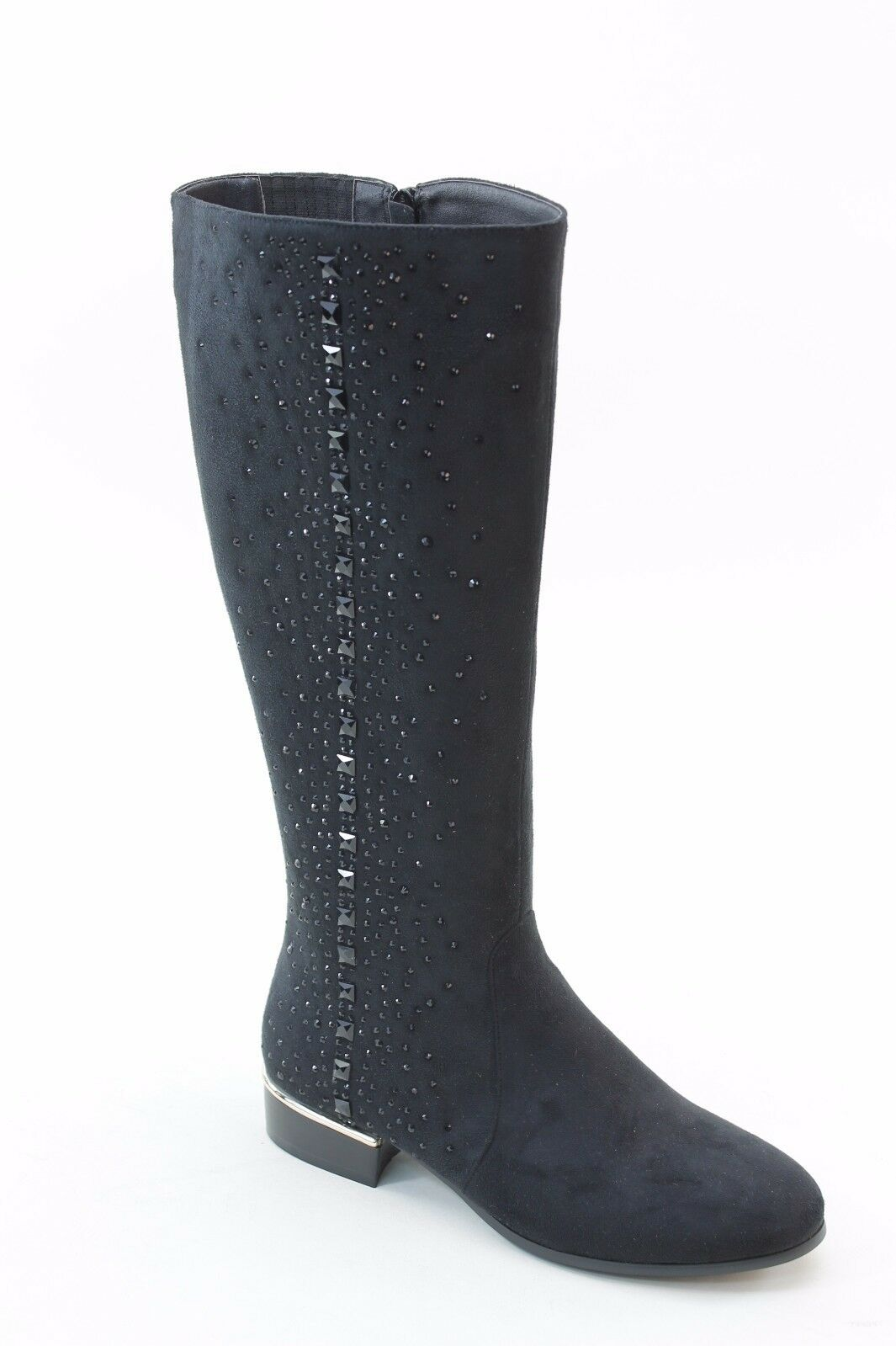 NEU WOMEN PARTY DRESSY  BLACK COMFORT LOW HEEL ZIPPER BOOTS