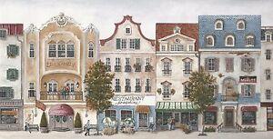 Wallpaper-Border-French-Country-Village-Street-Scene-Multi-Color