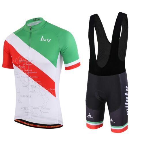 Bib Italy Team MILOTO Hommes Cycling Jersey et Vêtements Vélo Kit Shorts Sets