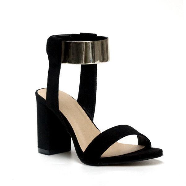 Sandalias de mujer elegantes talón talón talón cuadrado 8.5 cm negro oro cómodo CW894  ahorra 50% -75% de descuento