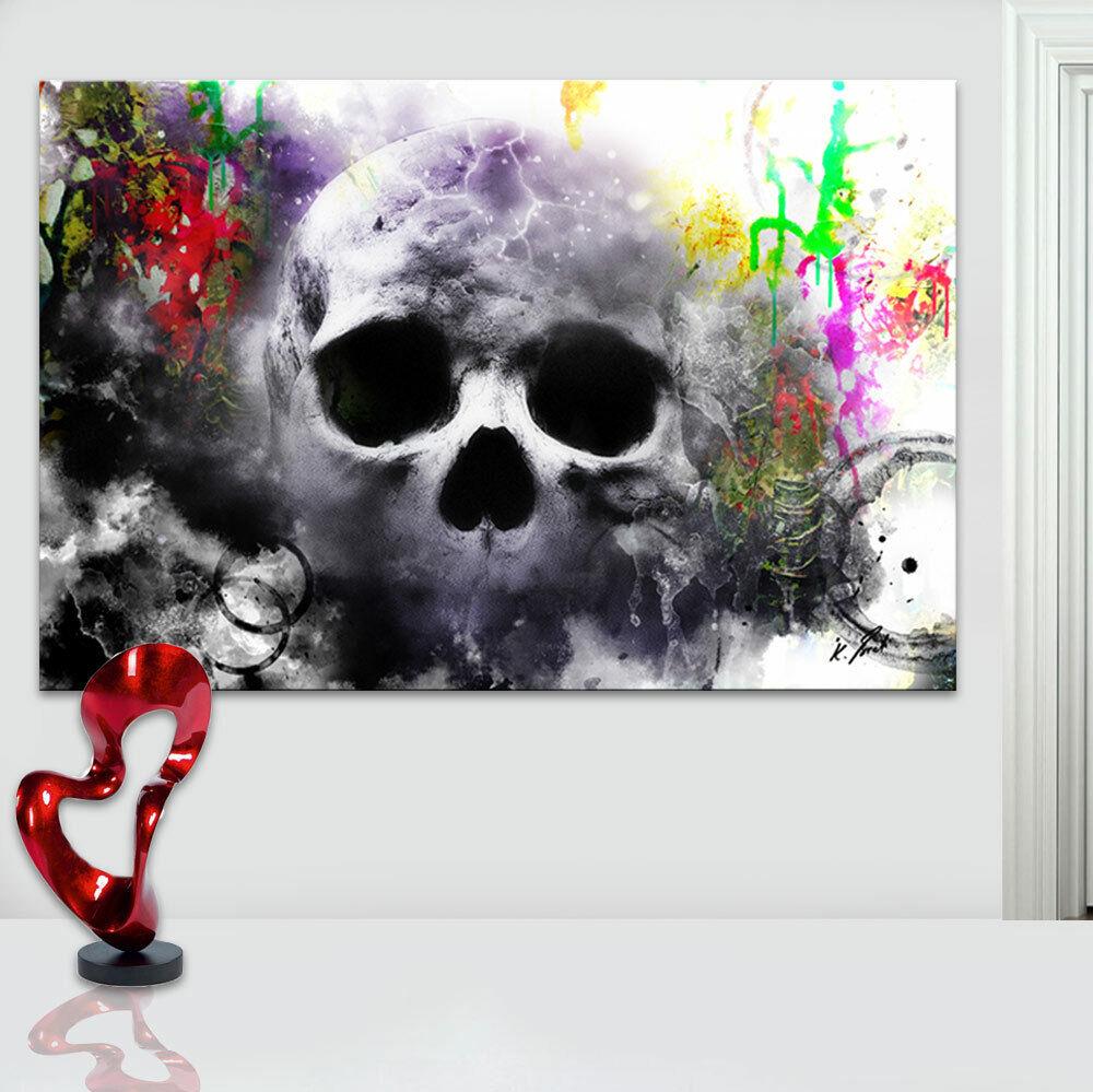 Abstraktes Bild Totenkopf Bunt Leinwand Kunst Bilder Wandbilder Kunstdruck D1726