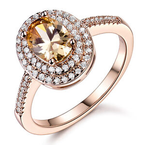 f5abf2405 Luxury 6*8mm Topaz Yellow Crystal Rose Gold Filled Women Wedding ...