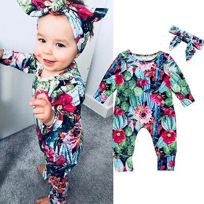 US Newborn Baby Boy Girl Cactus/&Flower Romper Bodysuit Jumpsuit Clothes Outfits