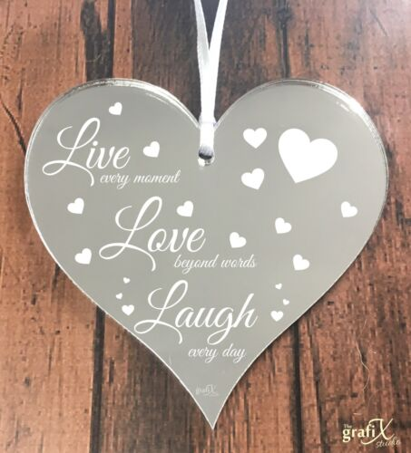 Live Laugh Love Quote Wooden//Mirror Heart Shape Plaque Sign Engraved ht42