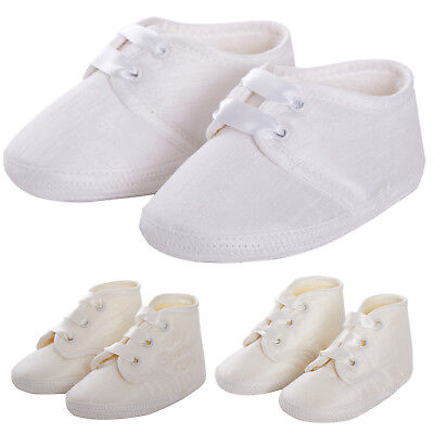 Baby Babies Christening Boots Shoe Ivory White Satin Ribbons 1-3 3-6 6-12 Months