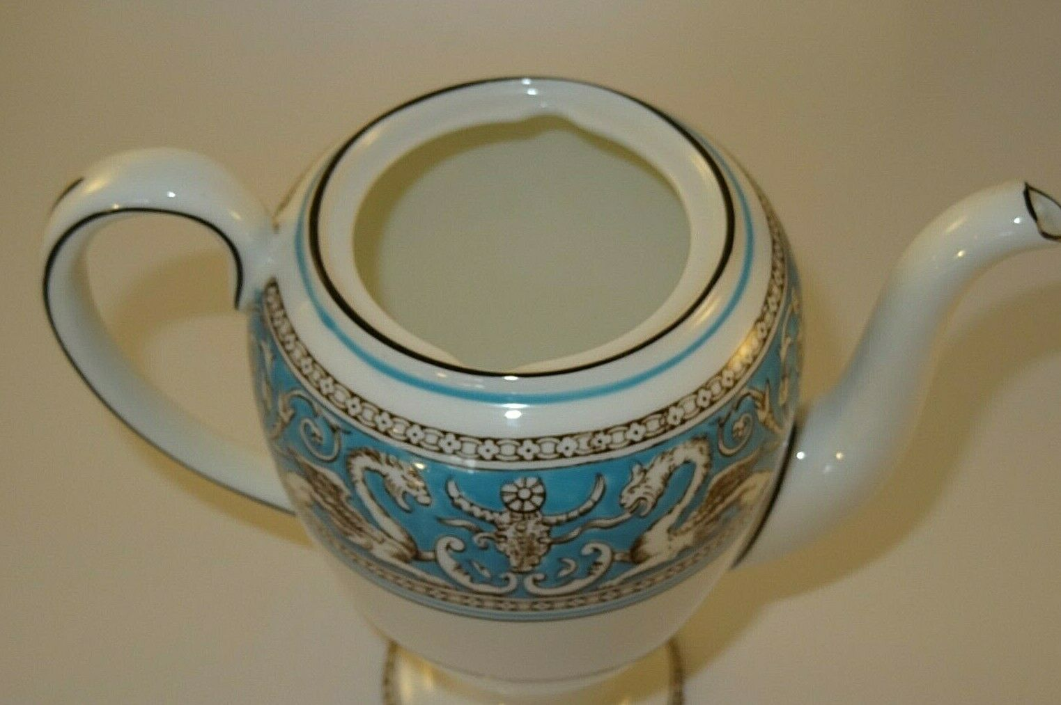 Image 6 - Wedgwood Florentine W2714 Turquoise Coffee Pot 1960s Excellent
