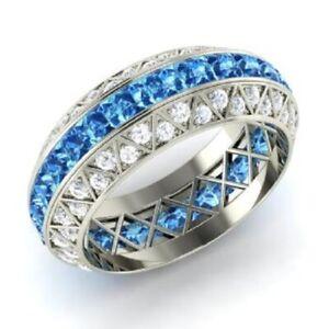 3.70 Ct Princess Diamond Wedding Topaz 925 Sterling Silver Eternity Band Size 7