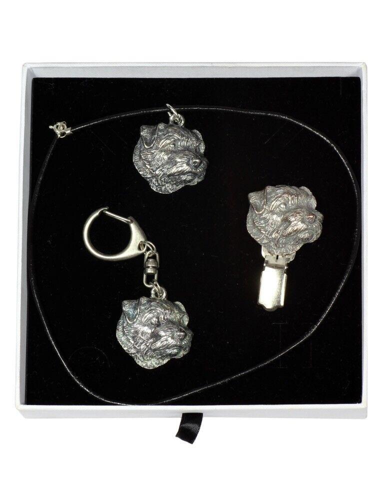 Norfolk Terrier - keyring, pendant, clipring, set with dog, Art Dog type 2