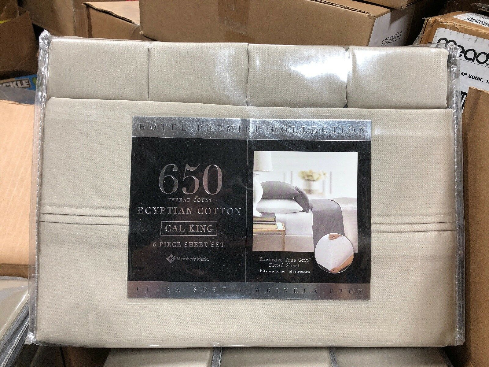 Hotel Premier Collection Cal King Deep Fitted Sheet Egyptian Cotton 650TC Tan