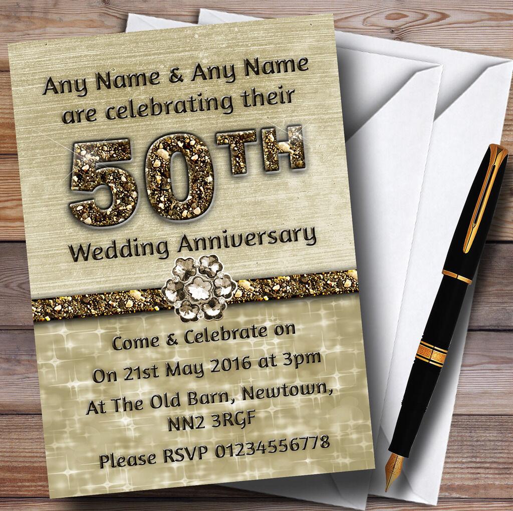 TITANIUM GOLD BRILLANT 50e invitations personnalisées Anniversaire Fête Anniversaire personnalisées fc1c55