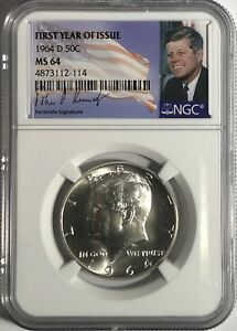 1968 D NGC MS64 SILVER KENNEDY HALF DOLLAR JFK COIN SIGNATURE 50c