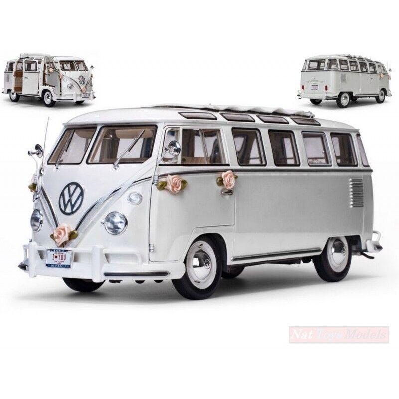 Sunstar ss5085 vw t1 samba - bus 1962 hochzeit version modellino druckguss 13.12 uhr  kamelhaar.