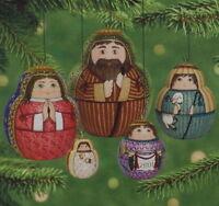 Hallmark 2001 Nesting Nativity Creche Pressed Tin Set Of 5 Ornaments