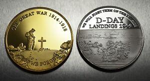 Pair Commemorative WW1 Armistice & WW2 Churchill D-Day Coins. 24ct Gold, Silver