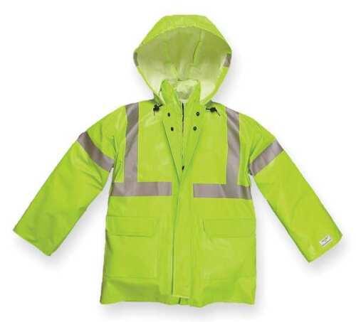 Lime Yellow NASCO 1503JFYL Arc Flash Rain Jacket with Hood L