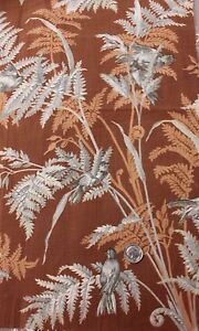 "Antique French Bird & Fern Botanical FabricSample,Steel Engraved c1872~18""LX15""W"