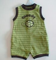 Gymboree Turtle-y Cute Speedy Striped Green One Piece Romper Outfit Layette