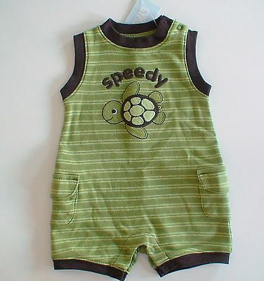 Gymboree TURTLE-Y CUTE Sea Turtle Green Brown Striped Speedy Cargo Romper NWT NB