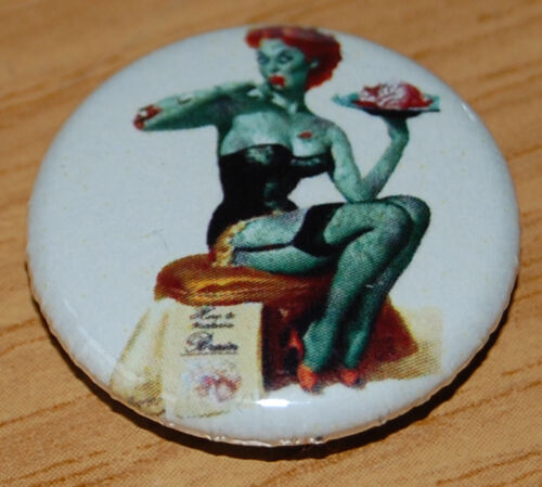 VINTAGE PIN-UP ZOMBIE HALLOWEEN 25MM BUTTON BADGE PIN UP RETRO COOL NOSTALGIA