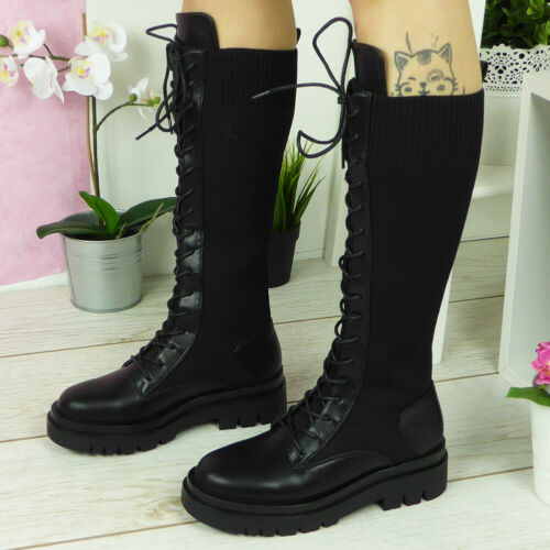 Womens Sock Boots Ladies Lace Up Army Black Comfy Heel Platform Warm Shoes Size