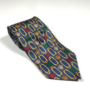 90s-Vintage-GIANNI-VERSACE-Mens-Tie-100-Silk-Made-in-Italy-Medusa-Blue