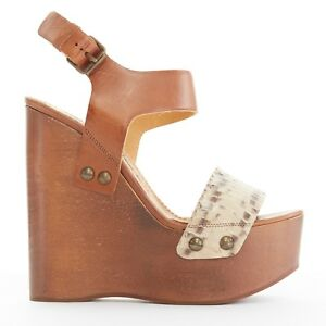 e88ed6a1b8a Image is loading new-LANVIN-python-strap-brown-leather-wooden-platform-