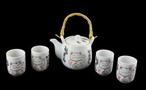 Chat Japonais Service à The Maneki Neko 1 Theiere zt 4 Tasses en Ceramique  228