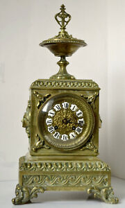 Ancienne-pendule-borne-Japy-Freres-en-Bronze-Horloge-Napoleon-3-Old-Clock