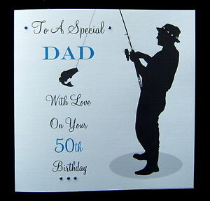 Image Is Loading Large 8 034 Sq Personalised FISHING Birthday Card