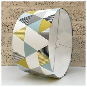 Image Is Loading Geometric Yellow Grey Teal Drum Lamp Shade Light