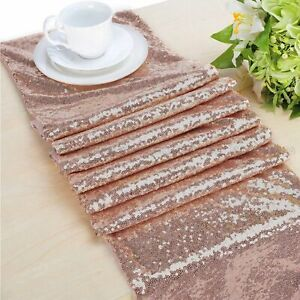 Rose-Gold-Sequin-Table-Runner-Tablecloth-Xmas-Party-Wedding-Decorations-12-034-x72-039-039