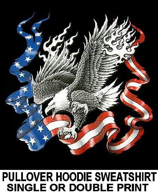 BIRD OF PREY CHARGING AMERICAN USA BALD EAGLE FLAG HOODIE SWEATSHIRT WS525