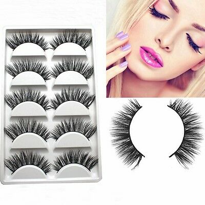 5 Pairs 100% Real Mink Makeup Handmade Long Natural Eye Lashes False Eyelashes