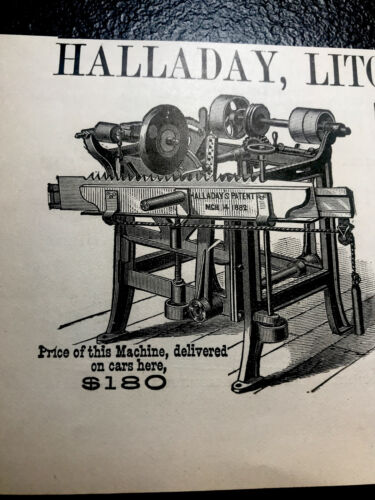 Saw Sharpeners Details about  /1886 Halladay Engraving Advert Litchfield /& Co Chicago