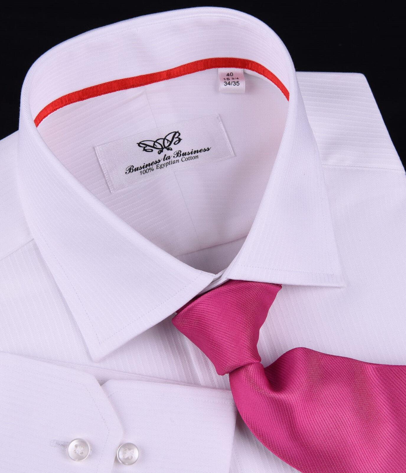 Herren Weiß Formal Geschäft Dress Shirt Luxury Designer Fashion Boss Wrinkle Free