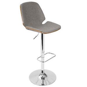 8b8e7ff8b4ce LumiSource Serena Mid-century Modern Barstool in Grey Fabric and ...
