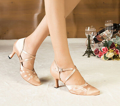 New Flesh Satin Ballroom SALSA Latin Tango Closed Toe Dance Dancing Shoes US9.5