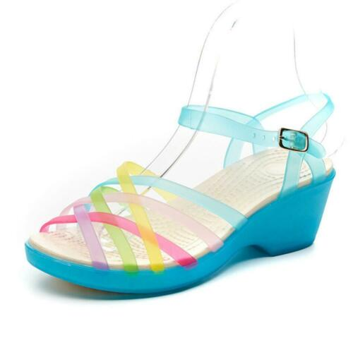 Ladies Womens Chunky Wedge Heels Jelly Sandals Beach Summer Holiday Shoes New