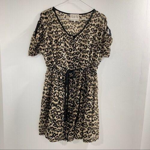 Sea NY Beach Cover Up Leopard Print Mini Dress siz