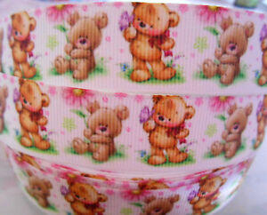 TEDDY-BEARS-flowers-Grosgrain-Ribbon-7-8-034-Bow-Cake-Card-Craft-2-yds-5-yds-DCD