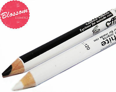 Saffron Black And White Eye Liner Pencil Crayon Khol 2in1 NEW FREE P&P