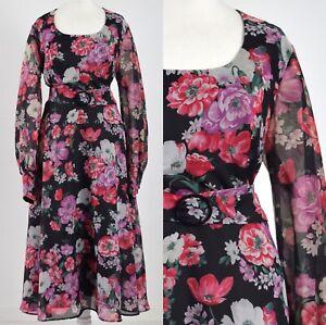 BLACK-FLOATY-FLORAL-1970s-VINTAGE-BELTED-DRESS-16