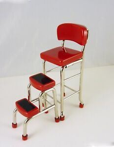 Details about Dollhouse Miniature Retro Red Kitchen Step Stool, T5951