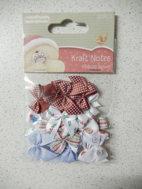 """Docrafts: -Forever Friends- 20x Schleifen """"Kraft Notes Christmas"""" -05"""