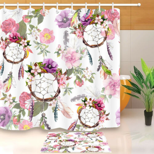 "60//72/""Color Flower Dream Catcher Shower Curtain Waterproof Fabric Bathroom /&Mat"