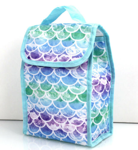 """6 pcs Pencil /& Tablet Cases RAINBOW MERMAIDS Large 17/"""" BACKPACK LUNCH Bag"""